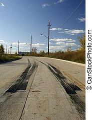 Burnout tire tracks