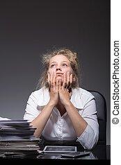 Burnout woman at work