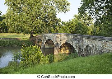 burnside's, ponte, em, a, antietam, (sharpsburg), campo...