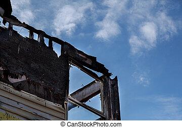 burnt black room after fire Burned-down house