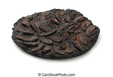 Burnt cake  - Burnt apple cake isolated on white