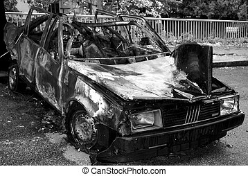burnt car - abandoned burnt rusted car - a terrorism act