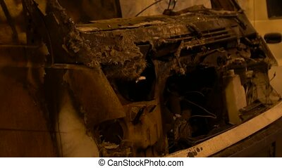 Burnt Car On The Street