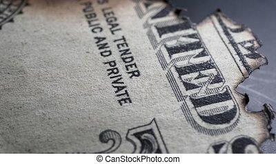 Burnt Dollar - Close up of burnt dollar notes