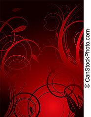 Burnt red and black hot floral background illustration