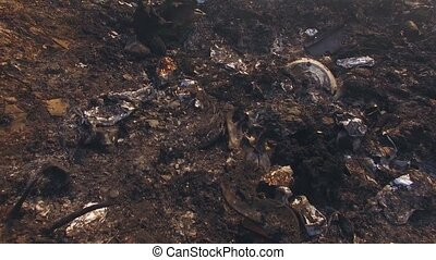 Burnt Garbage On Huge Dump Site - AERIAL VIEW. Lots of burnt...