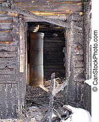Burnt house interior