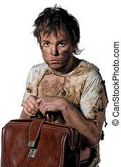 Burnt man - Portrait of homeless burnt man over white...