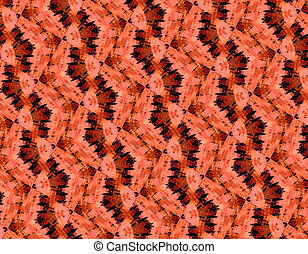 Burnt orange pattern has blocks of print in diamond shapes. Black dashes and range smudge form continuous design on horizontal image.