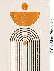 Burnt orange Sun print boho minimalist printable wall art geometric Rainbow abstract sunset print bohemian art work, vector