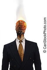 Burnt Out - Burnt matchhead emerging from the collar of a...
