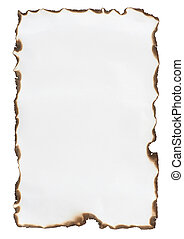 burnt paper isolated on a white background