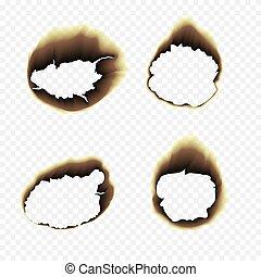 Burnt scorched paper hole vector illustration on transparent...