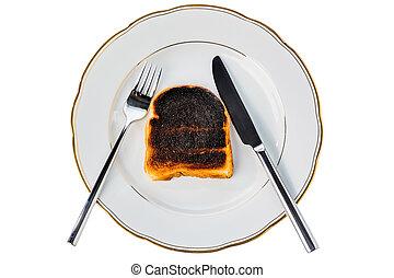 burnt toast bread slices - toast was burnt during toasting....