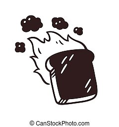 Burnt slice of toast drawing with fire and smoke. Hand drawn cartoon vector illustration.