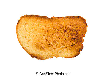 burnt toast on a white background isolated