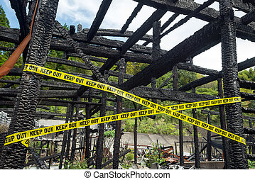 Burnt with keep out lines - Pillars and beams in a wooden ...