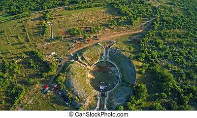 Burnum Roman amphitheater, aerial - Copter aerial view of...