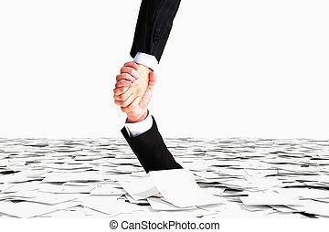 burocracia, concepto, no, papel, mano, fregadero, mar, uno,...