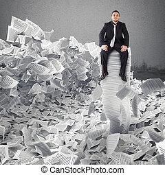 burocracia, folha, concept., papel, enterrado, anywhere., homem negócios