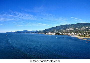 A view of the Burrard Inlet, Vancouver, Canada from Stanley Park.