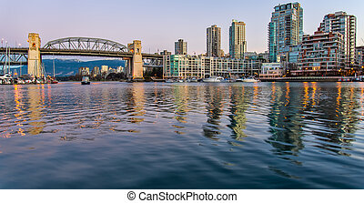 Burrary inlet and bridge from Granville Island