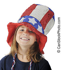 Close-up of a pretty elementary girl looking up from under a sparkly, oversized Uncle Sam hat. On a white background.