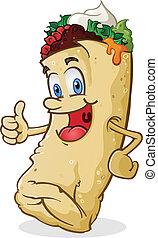 burrito, caractère, haut, pouces, dessin animé
