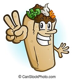 Burrito Cartoon Character Holding Up a Peace Sign