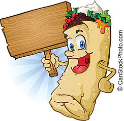 Burrito Cartoon Holding Sign - A burrito cartoon character...