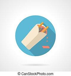 Burrito flat color design vector icon