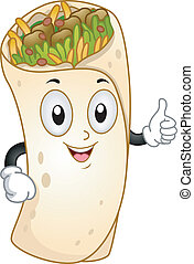 Burrito Mascot - Mascot Illustration Featuring a Burrito...