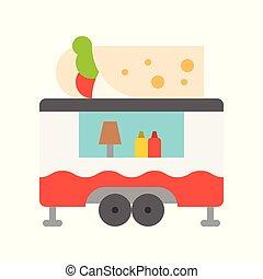 Burrito truck vector, Food truck flat style icon