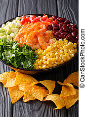 burrito, verticaal, groentes, kom, prawns, mexicaanse , close-up., food: