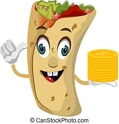 Burrito with coins, illustration, vector on white background.