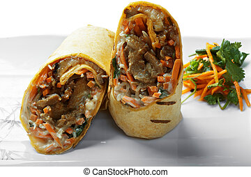 Burrito with grilled meat closeup