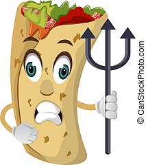 Burrito with spear, illustration, vector on white background.