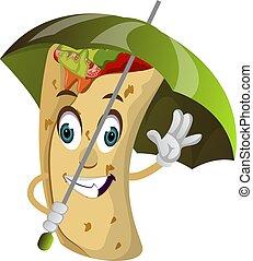 Burrito with umbrella, illustration, vector on white background.
