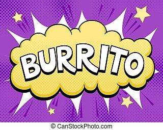 Burrito word comic book pop art vector