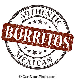 Burritos brown round grungy stamp isolated on white background