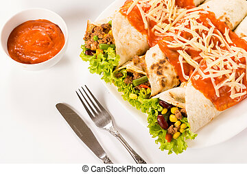 Burritos on white background - Three burrito sandwich and...