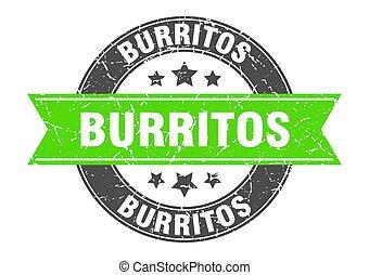 burritos round stamp with green ribbon. burritos