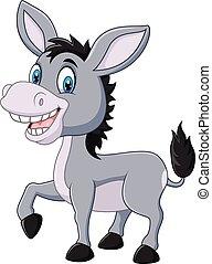 burro, adorable, aislado