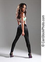 burro, ajustar, pose, jovem, africano, excitado, modelo, ...