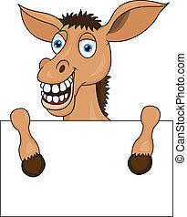 burro, blanco, caricatura, señal