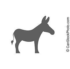 burro, blanco, silueta, aislado, plano de fondo