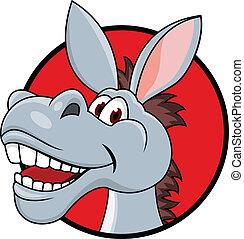 burro, cabeza, caricatura