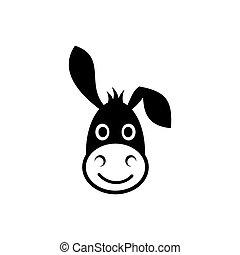 burro, cabeza, icono