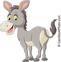 burro, caricatura, feliz