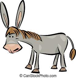 burro, caricatura, ilustração